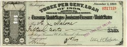 United States Spanish American Registered War Bond - Interest Check Three Per Cent Loan of 1898