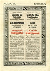 Loan of the Town of Hagen uncancelled 5% Bond 100000 Marks - Westphalia, Germany 1923