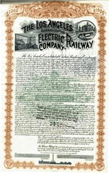 Los Angeles Consolidated Electric Railway Company $1000 Gold Bond ( Signed by Moses Sherman - Sherman Oaks named after him)  - California 1892