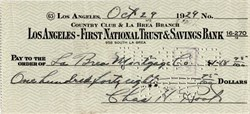 "Los Angeles - First National Trust & Savings Bank signed by Famous Pitcher Charlie Henry ""Chinski"" Root dated October 29, 1929 (Stock market Crash)"