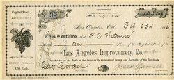 Los Angeles Improvement Company (Second Street Cable R.R. Co)  signed by Jesse Yarnell (Founded Weekly Mirror which became Los Angeles Times) - 1886