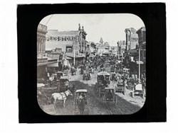 Los Angeles Main Street Black and White Photograph Magic Lantern Slide circa 1885