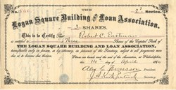 Logan Square Building and Loan Association - Pennsylvania 1880