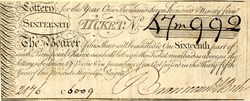Lottery Ticket from England issued in 1795