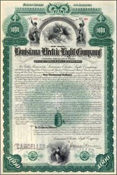 Louisiana Electric Light Company (Image of old arc light bulb on certificate) Payable in Gold - 1892