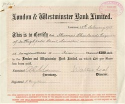 London & Westminster Bank Limited - England 1908