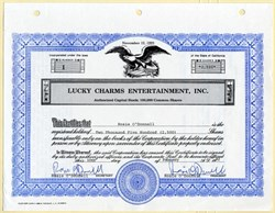 Lucky Charms Entertainment, Inc. Certificate #1 signed twice by Rosie O'Donnell - 1992