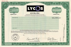 Lycos, Inc. (Early internet search engine company) RARE - Delaware 1998