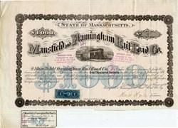 Mansfield and Framingham Rail Road Co. - Massachusetts 1871