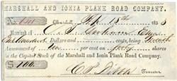 Marshall and Ionia Plank Road Company - Michigan 1853