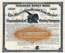 Massachusetts and New Mexico Consolidated Mining Company (Purchase Money Bond)  -  Mines at Eureka, Grand County, New Mexico -1882