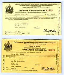 Early Drivers License and Registration for Buick Touring Car - Maine 1926