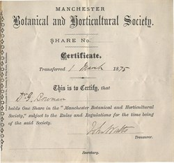 Manchester Botanical and Horticultural Society - England 1875