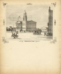 Brooklyn City Hall Lithograph - New York - circa 1850