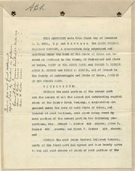 Maine Central Railroad Company Agreement  to purchase the Ricker Hotel Company - Maine 1911