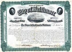 City of Baltimore Bond signed by Mayor and future Governor - Maryland 1883
