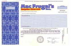 MacFrugal's, Incorporated 1992 - Delaware ( Became Consolidated Stores )