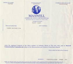 Maxwell Communication Corporation, PLC  ( Famous Fraud founded by Robert Maxwell) - UK