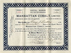 Manhattan Cobalt, Limited - 1907