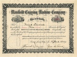 Manifold Copying Machine Company - Jersey City, New Jersey 1891