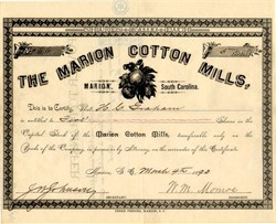 Marion Cotton Mills - Marion , South Carolina 1890