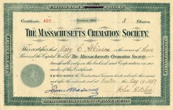 Massachusetts Cremation Society signed by James Read Chadwick MD - Boston, Massachusetts 1897