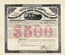 Maryland Freestone Mining and Manufacturing Company (Seneca Sandstone Company) -  Maryland 1870