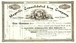 Magnetic Consolidated Iron Company 1882 - New Jersey
