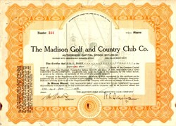 Madison Golf and Country Club Co. - Ohio 1928