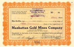 Manhattan Gold Mines Company - Tonopah, Nevada 1927