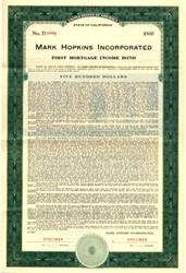 Mark Hopkins Incorporated - California 1937