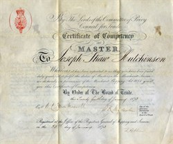 Master in the Merchant Service Certificate ( Merchant Shipping) -  Board of Trade,  Port of Liverpool, England 1873
