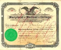 Maryland Medical College - Maryland 1904