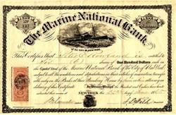 Marine National Bank (Bank's failure left Ulysses S. Grant Penniless) - New York 1865