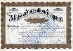 Matson Navigation Company signed by Founder, William Matson and Castle and Cooke's President, Edward Davies Tenney  - 1916