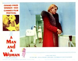 A Man and a Woman Lobby Card Starring Anouk Aimee, Jean-Louis Trintignant, and Pierre Barough - 1966