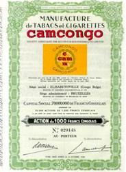 Manufacture de Tabacs et Cigarettes Camcongo -  (Cigarette Maker during WWII) - Belgian ,Congo  1944