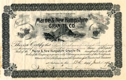 Maine & New Hampshire GRANITE Co. - Maine 1891