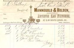 Mannegold & Holden Artistic Gas Fixture 1888