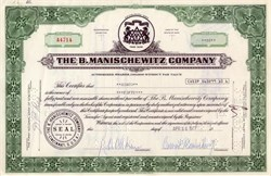 Manischewitz Company signed by Bernard Manischewitz (kosher food and wine products)