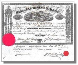 Manassas Mining Company 1853 - Virginia ( Famous Civil War Battle Location )
