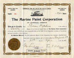 Marine Paint Corporation issued to and signed by Stilson Hutchins, founder of the Washington Post - Norfolk, Virginia 1906