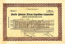 Martin Johnson African Expedition (Famous Husband & Wife Africa Explorers / Movie Producers) - 1924