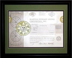 Framed Martha Stewart Living Omnimedia, Inc. with Martha Stewart as Chairman
