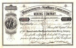 Massachusetts and New Mexico Consolidated Mining Company 1881