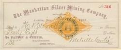 Manhattan Silver Mining Company of Nevada (IRS Revenue Stamp)  - Lander. Austin. Nevada 1881