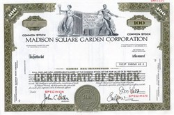 Madison Square Garden Corporation - Specimen