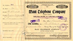 Maui Telephone Company 1910 - Issued