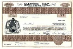 Mattel. Inc. Toy Company Stock Certificate (Ruth Handler as President)