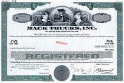 Mack Trucks, Inc. Specimen ( Mack Truck Vignette) - Delaware 1972